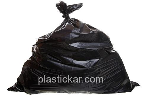 black trash bag isolated on a white background